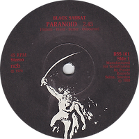Black Sabbath - Paranoid / Iron Man - Sweden -  Planet/NEMS BSS 101 - 1980 - Side 1