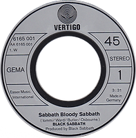 Black Sabbath - Sabbath Bloody Sabbath / Changes - Germany - Vertigo 6165001- 1973 - Side 1