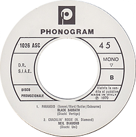 Black Sabbath Paranoid + Neil Diamond, Orietta Berti & Georges Moustaki - Italy - Phonogram 1026 - 1970