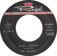 Black Sabbath - Paranoid / The Wizard + Neil Diamond - Cracklin Rosie / Lordy - Iran - Royal RT 653 - 1970 - Side B