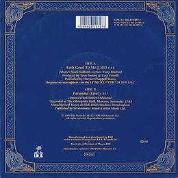 Black Sabbath - Feels Good To Me (Edit) / Paranoid (Live)- Netherlands - I.R.S. 24 1072 7 - 1990 - Back