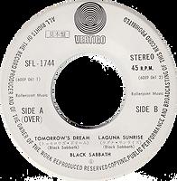 Black Sabbath - Tomorrow's Dream / Laguna Sunrise - Japan promo - Vertigo SFL-1744 - 1972 - Side 2