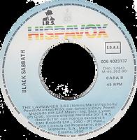 Black Sabbath - The Lawmaker / The Lawmaker - Spain - I.R.S./Hipsavox 006 4023137- 1990 - Promo - Side 2