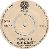 Black Sabbath - Paranoid / The Wizard - Greece - Vertigo 6059 010 - 1970 - Side 1