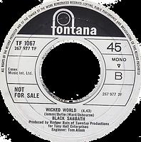 Black Sabbath - Evil Woman / Wicked World (Demo) - UK -Fontana 7437 - 1970 - Side 2