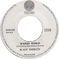 Black Sabbath - Evil Woman / Wicked World - Belgium - Vertigo 6059 002 - 1970 - side 2