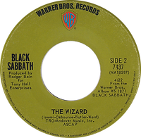 Black Sabbath - Paranoid / The Wizard - Canada - Warner Brother 7437 - 1970 - Side 2