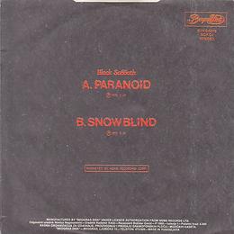 Black Sabbath  - Paranoid / Snowblind - Yugoslavia - Beograd Disc SVKS 3019- 1980 - Back