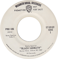 Black Sabbath - Radio  Spot for the LP Paranoid Warner Bros Pro 435 - 1971  - Promo  USA - side 1
