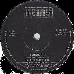 Black Sabbath - Paranoid / Snowblind - UK - NEMS NES 121 - 1978 - Side 1