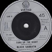 Black Sabbath - Turn Up The Night / Lonely Is The Word - UK - Vertigo SAB 6- 1981 - Side 1