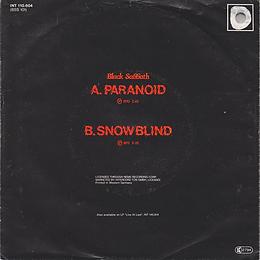 Paranoid / Snowblind - Germany - Intercord INT.110.604 - 1980 - Back