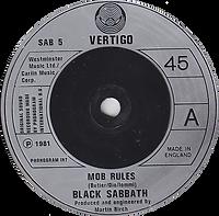 Black Sabbath - Mob Rules / Die Young (Live) - UK - Vertigo SAB 5 - 1981 - Side 1