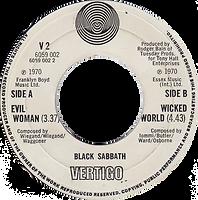 Black Sabbath -Evil Woman / Wicked World - UK -Vertigo V2 - 1970 - Side 2