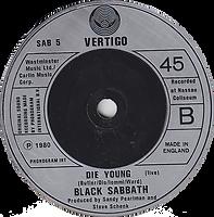 Black Sabbath -Mob Rules / Die Young (Live) - UK - Vertigo SAB 5 - 1981 - Side 2