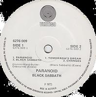 Black Sabbath - Paranoid / Black Sabbath / Tomorrow's Dream / Changes - Australia - Vertigo 6276 009- 1973 label 2
