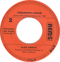 Black Sabbath - Paranoid / Tomorrow's Dream - Netherlands - NEMS SRS 510 044- 1977 - Side 2