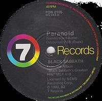 Black Sabbath - Paranoid / Snowblind - Australia -7 Records POW 105 - 1980