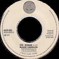 Black Sabbath - Evil Woman / Wicked World - Norway - Vertigo 6059 002 - 1970 - Big senterhole