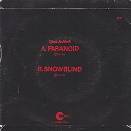 Black Sabbath - Paranoid / Snowblind - New Zealand - RTC BSS 101 - 1980 - Back