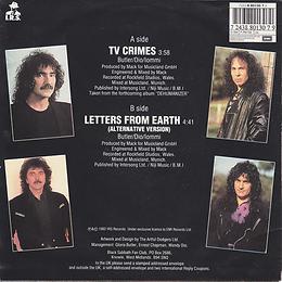 Black Sabbath - TV Crimes / Letters From Earth - Netherlands - I.R.S. 88 0130 7- 1992 - Back