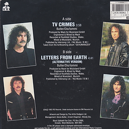 Black Sabbath - TV Crimes / Letter From Earth (Alternative Version) Poster sleeve - UK  -I.R.S. EIRS 178- 1992 - Back