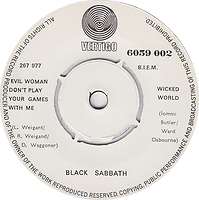 Black Sabbath - Evil Woman, Don't Play Your Games With Me / Wicked World - Soingapore - Vertigo  6059 002 - 1970 - Side 2
