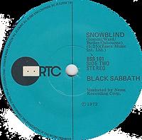 Black Sabbath - Paranoid / Snowblind - New Zealand - RTC BSS 101 - 1980 - Side 2