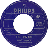 Black Sabbath - The Wizard / N.I.B. - Phillipines - Philips PHI-1187 - 197? - Side 1