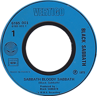 Black Sabbath - Sabbath Bloody Sabbath / Changes - France - Vertigo 6165 001 - 1973 - Side 1
