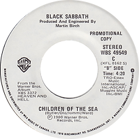 Black Sabbath - Lady Evil (edit) / Children Of The Sea - Canada - Warner Brother WBS 4954C - 1970 - Side 2