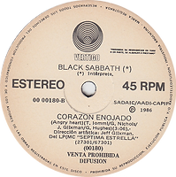 Black Sabbath - Ningun Extrano Para El Amor ( No Stranger To Love) / Corazon Enojado (Angry Heart) - Argentina - Vertigo 00 00180 - 1986 - Side B