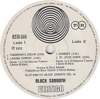 Black Sabbath - Tomorrow's Dream / Laguna Sunrise / Changes / St.Vitus Dance - Brasil - Vertigo  6276 008 - 1973 - Side 2