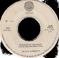 Blck Sabbath  - Paranoico / Ensalada DeRatas - Mexico - Vertigo 112 (6059 114)- 1971 - Side A