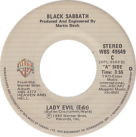 Black Sabbath - Lady Evil (edit) / Children Of The Sea  - Canada - Warner Brother WBS 4954C - 1970 - Side 1