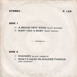 Cliff Richard - A Brand New Song / Mary Hopkin - Mary Had a Baby / Black Sabbath - Changes / Rod Stewart - What's Made.. Stereo - Thailand - 4 Record P.129- 197?- Back