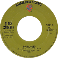 Black Sabbath - Paranoid / The Wizard - Canada - Warner Brother 7437 - 1970 - Side 1