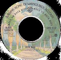 Black Sabbath - Paranoid / Iron Man Warner Bros GWB 0312- 1975 - issued with US single - Side 2