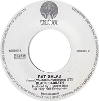 Black Sabbath - Paranoid / Rat Salad - Belgium - Vertigo 6059 014- 1970 Side 2