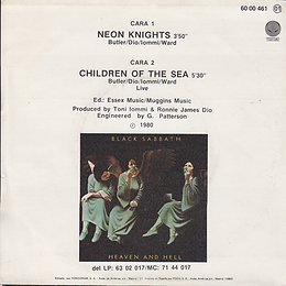 Black Sabbath - Neon Knights / Children Of The Sea - Spain - Vertigo 6000 461 - 1980 - Back