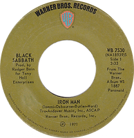 Black Sabbath - Iron Man / Electric Funeral - Canada - Warner Brother 7530 - 1971 - Side 1