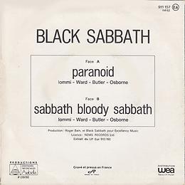 Black Sabbath - Paranoid / Sabbath Bloody Sabbath - France - Eurodisc 11462- 1977 - Back