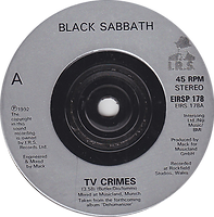 Black Sabbath - TV Crimes / Letter From Earth (Alternative Version) Poster sleeve I.R.S.  - UK  -EIRS 178- 1992 - Side 1