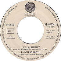 "Black Sabbath  - It's Alright  / Chrisma - ""U"" Part 1 - Italy -Vertigo  / Polydor AS 5000 364 - 1977 - Promo"