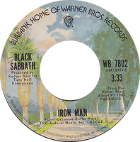 Iron Man / Electric Funeral Warner Bros 7530 - 1971  - Palmtree label - side 1