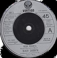 Black Sabbath - Neon Knights / Children Of The Sea (Live) - UK - Vertigo SAB 3- 1980 - side 1