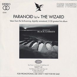 Black Sabbath - Paranoid / The Wizard - UK - Raw Power RAWP7145 - 2000 (For Promotional use only) - Back