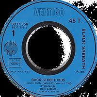 Black Sabbath - Back Street Kids / Rock'n'Rol Doctor (Promo) - France  -Vertigo 6837 356-1976 - Side 1