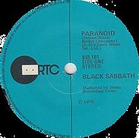 Black Sabbath - Paranoid / Snowblind - New Zealand RTC BSS 101 - 1980 - Side 1