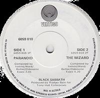 Black Sabbath - Paranoid / The Wizard - Australia - Vertigo 6059 010- 1970 - label side 2